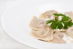 Азиатские вареники с соусами Стоковое фото RF