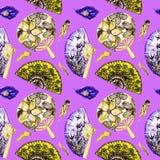 Азиатские вентиляторы с вишневым цветом, ласточками и круглой с лотосом, испанским с черными маками, пер бесплатная иллюстрация