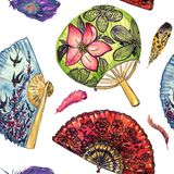 Азиатские вентиляторы с ласточками вишневого цвета и летания и круглой с лотосом, красным испанским языком с черными маками, пер иллюстрация вектора