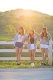 Азиатские девушки вися вне в парке совместно Стоковое Изображение RF