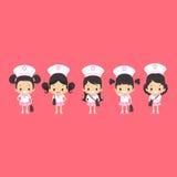 Азиатские девушки равномерные Иллюстрация вектора