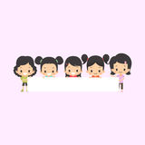 Азиатские девушки с пустым знаменем Бесплатная Иллюстрация
