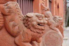 Азиатские каменные львы Стоковое Изображение