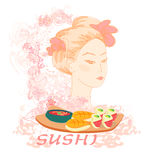 азиатские красивейшие суши девушки Стоковая Фотография