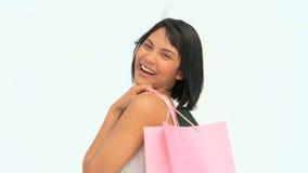азиатские мешки держа женщину покупкы сток-видео