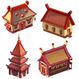 Азиатские дома (японская или китайская деревня) Стоковое Изображение RF