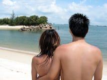 азиатские пары пляжа Стоковое Изображение