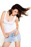 азиатские слегка ударяя волосы ее женщина Стоковое фото RF