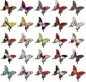 азиатские флаги коллажа бабочек Стоковое Изображение