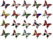 азиатские флаги коллажа бабочек Стоковые Изображения