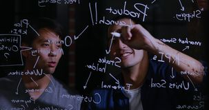 Азиатский бизнесмен объясняя диаграмму видеоматериал