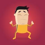 Азиатский боец с желтым clipart шаржа костюма следа Стоковые Изображения RF