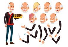 Азиатский вектор старика Старшая персона Постаретый, престарелый Смешной, приятельство Эмоции стороны, различные жесты сердитой иллюстрация вектора