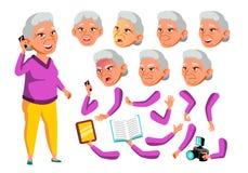 Азиатский вектор старухи Старшая персона Постаретый, престарелый Отдых, улыбка Эмоции стороны, различные жесты сердитой иллюстрация вектора