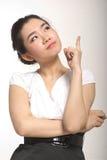азиатский думать девушки Стоковые Фото