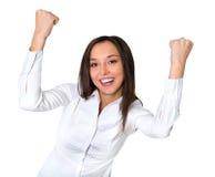 азиатский кавказец камеры коммерсантки предпосылки напористые excited свежие счастливые изолированные смотря детенышей женщины см Стоковые Фото