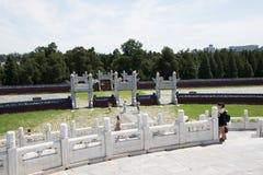 Азиатский китаец, Пекин, парк Tiantan, круговой алтар насыпи, исторические здания Стоковое Изображение