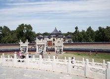 Азиатский китаец, Пекин, парк Tiantan, круговой алтар насыпи, исторические здания Стоковое фото RF