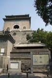 Азиатский китаец, Пекин, старая архитектура, башня с часами Стоковые Фотографии RF