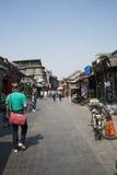 Азиатский китаец, Пекин, Yandaixiejie, коммерчески улица в старой Стоковые Фотографии RF
