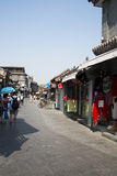 Азиатский китаец, Пекин, Yandaixiejie, коммерчески улица в старой Стоковое Изображение