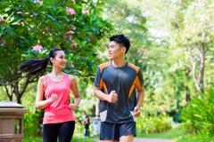 Азиатский китайские человек и женщина jogging в парке Стоковая Фотография RF