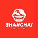 Азиатский кран Шанхая знака летает культура неба Стоковое Фото