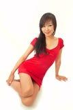 азиатский красивейший красный цвет девушки платья Стоковое Фото