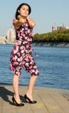 азиатский красивейший пинк девушки платья Стоковая Фотография RF