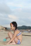 азиатский малыш пляжа Стоковая Фотография RF