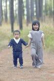 Азиатский маленький милый брат мальчика и девушки рука об руку идя I Стоковые Фотографии RF