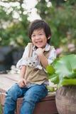 Азиатский мальчик держа американского котенка коротких волос Стоковая Фотография RF