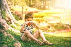 Азиатский мальчик при камера ослабляя outdoors во времени дня, перемещении Стоковое Изображение RF