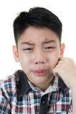 Азиатский милый мальчик унылый и плакать Стоковое Изображение RF