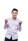 Азиатский молодой победитель бизнесмена стоковое изображение rf