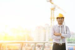 Азиатский мужской портрет инженера подрядчика места Стоковое Изображение