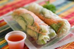 Азиатский овощ свертывает в рисовой бумаге с пряным соусом для dippin стоковое фото