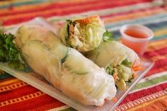 Азиатский овощ свертывает в рисовой бумаге с пряным соусом для dippin стоковые изображения