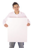 Азиатский парень с пустой вертикалью знака Стоковая Фотография RF