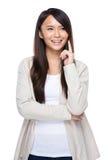 Азиатский палец женщины думает идеи Стоковая Фотография