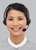 азиатский портрет шлемофона коммерсантки Стоковые Изображения