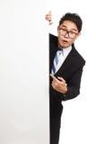 Азиатский пункт интереса бизнесмена к знамени Стоковая Фотография RF