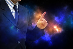 Азиатский пункт пальца бизнесмена вверх стоковая фотография