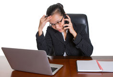 Азиатский работник офиса под выражением III давления Стоковые Изображения