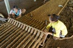 Азиатский работник, циновка койра, вьетнамец, волокно кокоса стоковое изображение