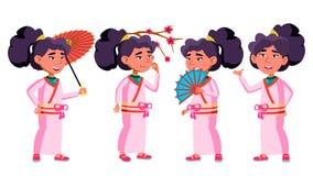 Азиатский ребенк девушки представляет установленный вектор Кимоно, Сакура, зонтик бобра Молодой, жизнерадостный Для открытки, кры бесплатная иллюстрация