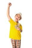Азиатский ребенок держа деньги пока стоящ изолированный на белом backg Стоковая Фотография RF