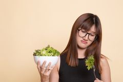 Азиатский салат ненависти женщины стоковое изображение