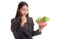 Азиатский салат ненависти бизнес-леди Стоковые Изображения RF