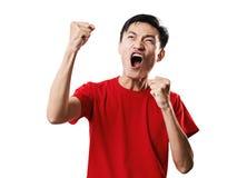 Азиатский футбол поклонника футбола тайских людей в красном isolat рубашки рукава Стоковые Изображения